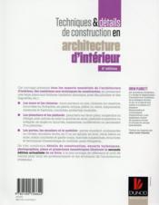 Techniques et détails de contruction en architecture d'intérieur (2e édition) - 4ème de couverture - Format classique