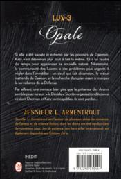 Lux - 3 ; opale - 4ème de couverture - Format classique
