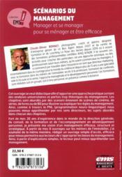 Scénarios du management ; manager et se manager pour se ménager et être efficace - 4ème de couverture - Format classique