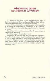 Memoires Du Desert ; Des Saheliens Se Souviennent - 4ème de couverture - Format classique