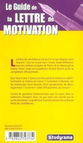 Le guide de la lettre de motivation - 4ème de couverture - Format classique