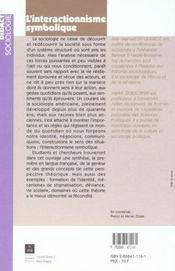 L'interactionnisme symbolique - 4ème de couverture - Format classique
