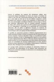 Refondation des observatoires astronomiques sous la III République - 4ème de couverture - Format classique