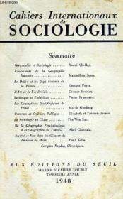 CAHIERS INTERNATIONAUX DE SOCIOLOGIE, VOL. V, CAHIER DOUBLE, 3e ANNEE - Couverture - Format classique
