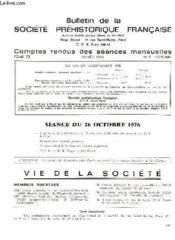 Bulletin De La Societe Prehistorique Francaise - Comptes Rendus Des Seances Mensuelles - Annee 1976 - Tome 73 - N°7 - Couverture - Format classique