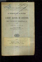L'Ordre Naturel Et Essentiel Des Societes Politiques 1767. - Couverture - Format classique