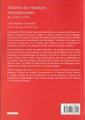 Histoire des relations internationales de 1919 à 1945 (12e édition) - 4ème de couverture - Format classique
