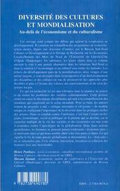 Diversite Des Cultures Et Mondialisation ; Au-Dela De L'Economisme Et Du Culturalisme - 4ème de couverture - Format classique