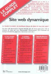 Site web dynamique - 4ème de couverture - Format classique