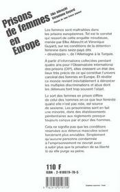 Prisons De Femmes En Europe - 4ème de couverture - Format classique