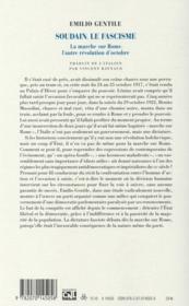 Soudain, le fascisme ; la marche sur Rome, l'autre révolution d'Octobre - 4ème de couverture - Format classique