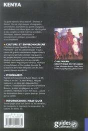 Kenya - 4ème de couverture - Format classique