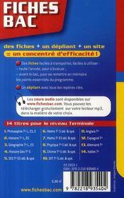Fiches Bac T.6 ; Mathématiques ; Terminale S - 4ème de couverture - Format classique