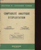 COMPTABILITE ANALYTIQUE D'EXPLOITATION - CLASSE DE 1ere ECONOMIQUE - Couverture - Format classique