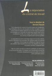 La negociation du contrat de travail - 1ere ed. - 4ème de couverture - Format classique