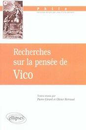Recheches Sur La Pensee De Vico - Intérieur - Format classique