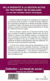 De La Passivite A La Gestion Active Du Traitement De Sa Maladie ; Le Cas Des Malades Renaux Chroniques - 4ème de couverture - Format classique