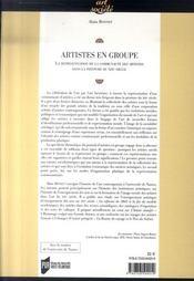 Artistes en groupe ; la représentation de la communauté des artistes dans la peinture du xix siècle - 4ème de couverture - Format classique