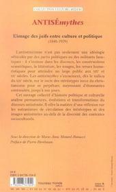 Antisémythes ; l'image des juifs entre culture et politique (1848-1939) - 4ème de couverture - Format classique