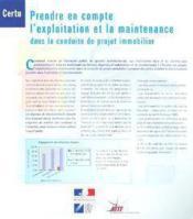 Prendre en compte l'exploitation et la maintenance dans la conduite de projet immobilier cd-rom (ref - Couverture - Format classique