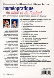 Homéopratique du bébé et de l'enfant (édition 2006) - 4ème de couverture - Format classique