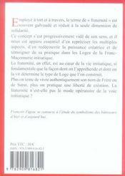 LES SYMBOLES MACONNIQUES T.23 ; la fraternité initiatique - 4ème de couverture - Format classique