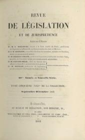 REVUE DE LÉGISLATION ET DE JURISPRUDENCE; 10ème année Nouvelle Série; t. V (XXIème de la Coll.) septembre - décembre 1844 - Couverture - Format classique