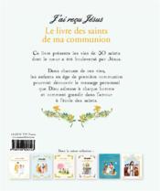 Le livre des saints de ma communion - 4ème de couverture - Format classique