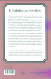 Le christianisme ésotérique - 4ème de couverture - Format classique