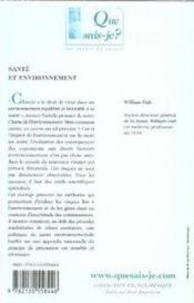 Santé et environnement - Couverture - Format classique