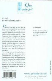 Santé et environnement - 4ème de couverture - Format classique