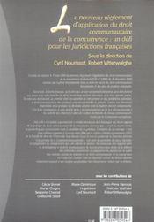 Le nouveau reglement d'application du droit communautaire de la concurrence - 4ème de couverture - Format classique