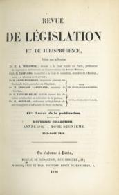 REVUE DE LÉGISLATION ET DE JURISPRUDENCE; 12e année Nouvelle Coll. année 1846 t. II mai - août 1846 - Couverture - Format classique