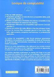 Lexique De Comptabilite ; 5e Edition - 4ème de couverture - Format classique