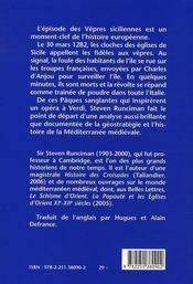 Les vêpres siciliennes ; une histoire du monde méditerranéen à la fin du XIII siècle - 4ème de couverture - Format classique