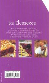 Les desserts, 100 recettes - 4ème de couverture - Format classique