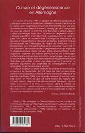 Culture Et Degenerescence En Allemagne - 4ème de couverture - Format classique