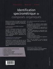 Identification spectrométrique de composés organiques - 4ème de couverture - Format classique