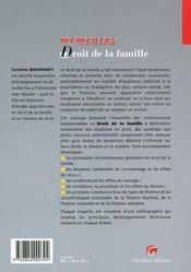 Droit de la famille - 4ème de couverture - Format classique