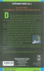 Julian rios le rabelais des lettres espagnoles - 4ème de couverture - Format classique