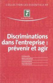 Discriminations dans l'entreprise ; prévenir et agir - Intérieur - Format classique