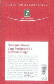 Discriminations dans l'entreprise ; prévenir et agir - 4ème de couverture - Format classique