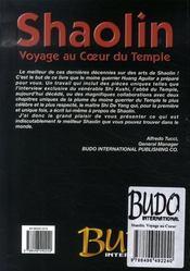 Shaolin, voyage au coeur du temple - 4ème de couverture - Format classique