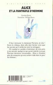 Alice Et La Pantoufle D'Hermine - 4ème de couverture - Format classique