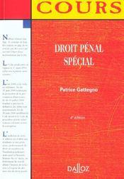 Droit Penal Special ; 4e Edition - Intérieur - Format classique