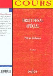 Droit Penal Special ; 4e Edition - 4ème de couverture - Format classique