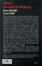 URSSAF : un cancer français - 4ème de couverture - Format classique
