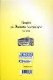 Progres En Dermato-Allergologie - Paris 2007 - 4ème de couverture - Format classique