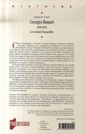 Georges Bonnet, 1889-1973 ; les combats d'un pacifiste - 4ème de couverture - Format classique
