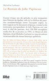 Le roman de julie papineau t.1 ; la tourmente - 4ème de couverture - Format classique